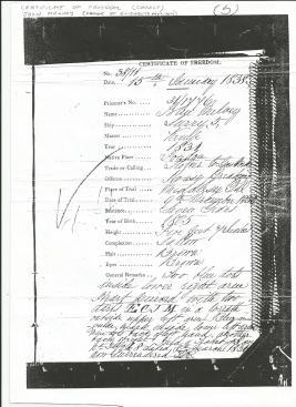 certificate of freedom John Melvey