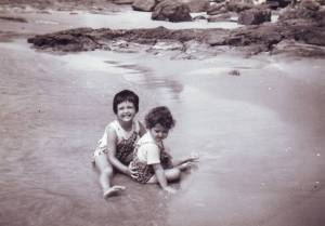 My sister and I during one of our holidays to The Entrance...early 1960's.
